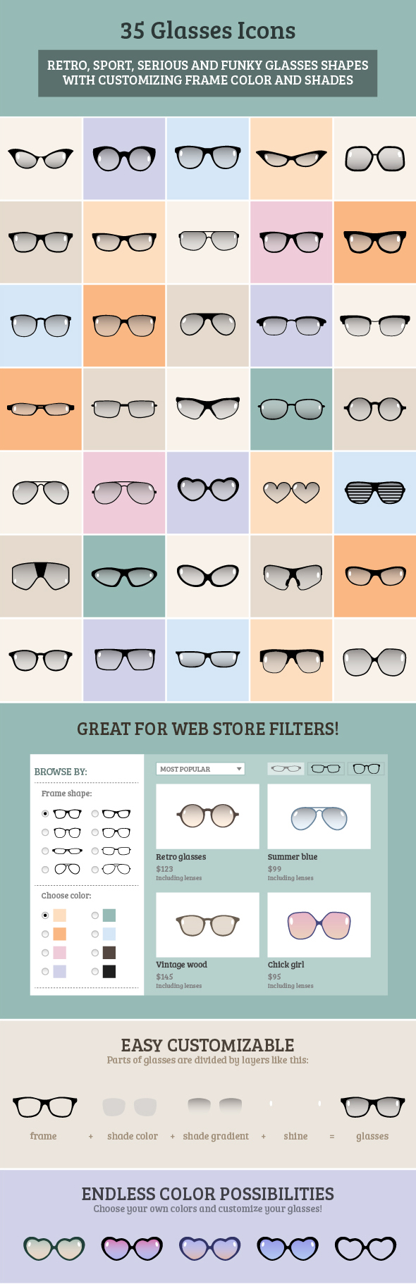 35 Glasses icons available for purchase via Envato